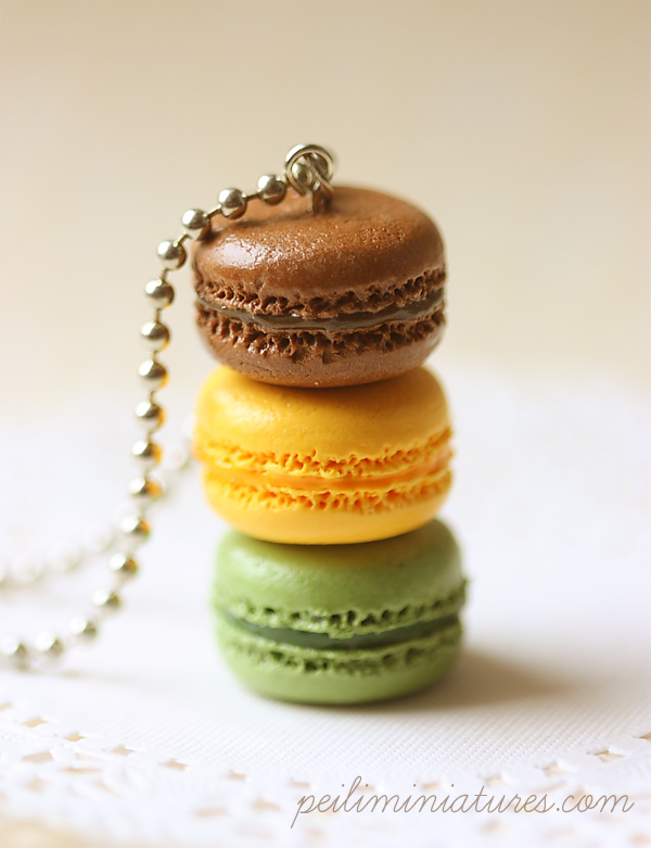 Macaron Jewelry - Trio Macarons Necklace