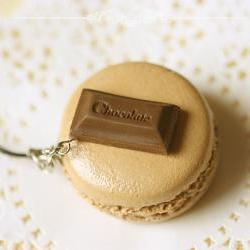 Clay Sweets Macaron Keychain - Macaron Phone Charm Bag Charm - Chocolate Macaron