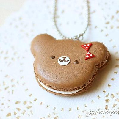Teddy Bear Macaron Necklace - Teddy Bear Gifts - Bear Jewelry