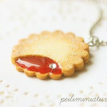 Cookie Jewelry - Cookie Necklace - Strawberry Jam Cookie Necklace